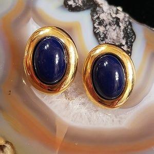 Vintage Napier blue & gold clip on earrings GUC